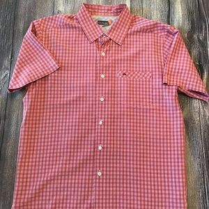 Quicksilver Men's Medium Orange Plaid Shirt